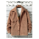 Guys New Stylish Lapel Collar Long Sleeve Single Breasted Plain Casual Fitted Jacket