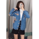 Cute Owls Print V-Neck Long Sleeve Loose Knitwear Cardigan for Women