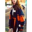 Autumn Winter Patchwork Print Boxy Drop Sleeve Cardigan Coat for Women