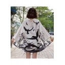 Women's Flying Crane Printed Half Sleeve Open Front Japanese Style Cardigan Kimono Haori Jacket Coat