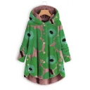 Winter Women's Warm Floral Printed Long Sleeve Single Breasted Curved Hem Plush Coat