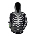 Halloween Cool Fashion Skeleton 3D Printed Black Long Sleeve Pullover Hoodie