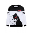 Cartoon Black and White Bear Stripe Pattern Round Neck Long Sleeve Unisex Casual Pullover Sweatshirts