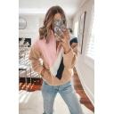 New Stylish Half-Zip Stand Up Collar Color Block Long Sleeve Fluffy Teddy Sweatshirt