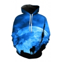 New Fashion Blue Moonlight Wolf 3D Printed Long Sleeve Casual Loose Pullover Hoodie