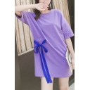 New Trendy Round Neck Short Sleeve Tie Front Slit Letter Print T-Shirt Shift Dress