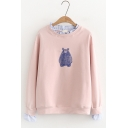 Cartoon Teddy Bear Printed Ruffled Round Neck Long Sleeve Pullover Sweatshirt