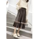 Womens Elegant High-Waisted Velvet Plush Edges Plain Pleated Midi Skirt