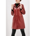 Winter's New Trendy Single Breasted PU Leather Fashion Long Jacket Trench Coat with Flap Pockets