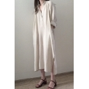 Womens New Trend Stand Collar Long Sleeve Pockets Loose Plain Shift Shirt Maxi Dress