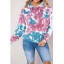 New Fashion Tie-Dyed Long Sleeve Pullover Hoodie With Pocket