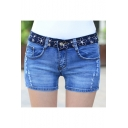 Blue Floral Printed Waist Distressed Stretch Fitted Lace Denim Shorts