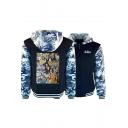 Rock Style Letter Camo Print Long Sleeve Warm Thicken Zip Up Hoodie Coat