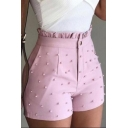 Summer Paperbag Waist Beading Embellished Fitted Tailored Shorts