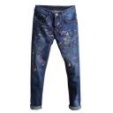 Men's Popular Fashion Colored Spray Paint Printed Dark Blue Regular Fit Jeans