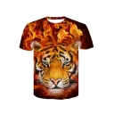 Summer Hot Trendy Personalized Mens Short Sleeve Round Neck Fire Tiger Printed T-Shirt