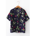 New Arrival Short Sleeve Lapel Collar Cherry Floral Printed Button Down Loose Shirt