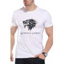 Mens Fashion White Short Sleeve Round Neck Winter Is Coming Letter Printed Slim Fit T Shirt