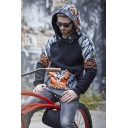 Hot Trendy Black Tiger Printed Long Sleeve Casual Loose Warming Hoodie with Pocket