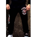 Men's Popular Fashion Badge Graphic Printed Black Casual Loose Sweatpants