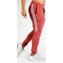Men's Fashion Classic Stripe Side Drawstring Waist Cotton Sweatpants Sports Pencil Pants