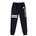 Letter FASHION DESIGN Stripe Printed Guys Trendy Drawstring Waist Cotton Sweatpants