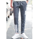 Guys Fashion Classic Three Bars Stripe Printed Drawstring Waist Casual Cotton Sweatpants