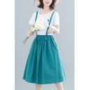 Stylish Summer Elastic Waist Plain Cotton Linen Midi Overall Skirt