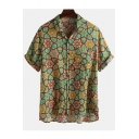 New Trendy Mens Short Sleeve Lapel Collar Floral Printed Button Down Hawaiian Shirt