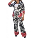 Long Sleeve Cardigan Coat with High Waist Colorblock Floral Printed Co-ords for Lady