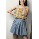 Summer Trendy Sweet Womens Blue Tie Waist Mini Pleated Denim Skirt