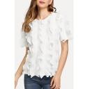 Womens Hot Stylish White Round Neck Short Sleeve Stringy Selvedge Patch T shirt