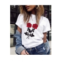 White Short Sleeve Round Neck Rose Printed Sweet Cute T-Shirt