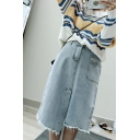 Womens New Fashion Light Blue Frayed Hem Midi Asymmetrical Denim Skirt