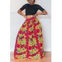Womens Trendy Ethnic Style African Tribal Floral Print Maxi Swing Skirt