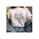 BE KIND TO YOUR MIND Letter Girl Head Printed White Funny Tee