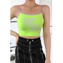 Summer Hot Stylish Straps Sleeveless Letter Printed Contrast Trim Green Cropped Cami