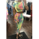 Fashion Colorful Tie Dye Short Sleeve Crop Tee with Skinny Fit Pants Two-Piece Set