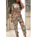 Womens Summer Fashion Floral Snake Printed Short Sleeve Crop Tee with Pants Two-Piece Set