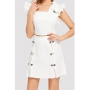 Womens Chic Ruffled Crop Top with Mini A-Line Skirt White Two-Piece Set