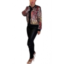 Womens New Stylish Glitter Long Sleeve Zip Up Short Sequined Jacket