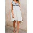 Womens Summer Holiday V-Neck Sleeveless Mini White Swing Dress