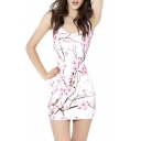 Fancy White Floral Printed Scoop Neck Sleeveless Mini Bodycon Tank Dress