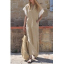 Womens Hot Trendy Lace-Trimmed Sleeve Split Side Plain Maxi Linen Dress