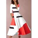 Womens Chic White Color Block V-Neck Half Sleeve Maxi Fit and Flared Dress