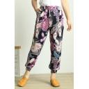 Summer Fashion Printed Elastic Waist Cotton Loungewear Bloomers Pants