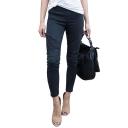 Womens Hot Popular Plain Zip Cuff Pleated Skinny Fit Denim Motor Jeans