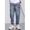 Men's New Fashion Simple Plain Blue Multi-pocket Embellished Drawstring Waist Cargo Jeans