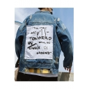 Guys Vintage Distressed Ripped Long Sleeve Letter THE GREAT ARTIST Print Button Front Fitted Blue Denim Jacket