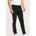 Men's Popular Fashion Contrast Stripe Painting Side Black Stretched Slim Fit Jeans